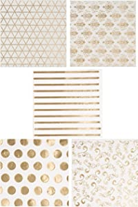Assorted Gold Foil Party Decorations, White Napkins (5 x 5 In, 100 Pack)