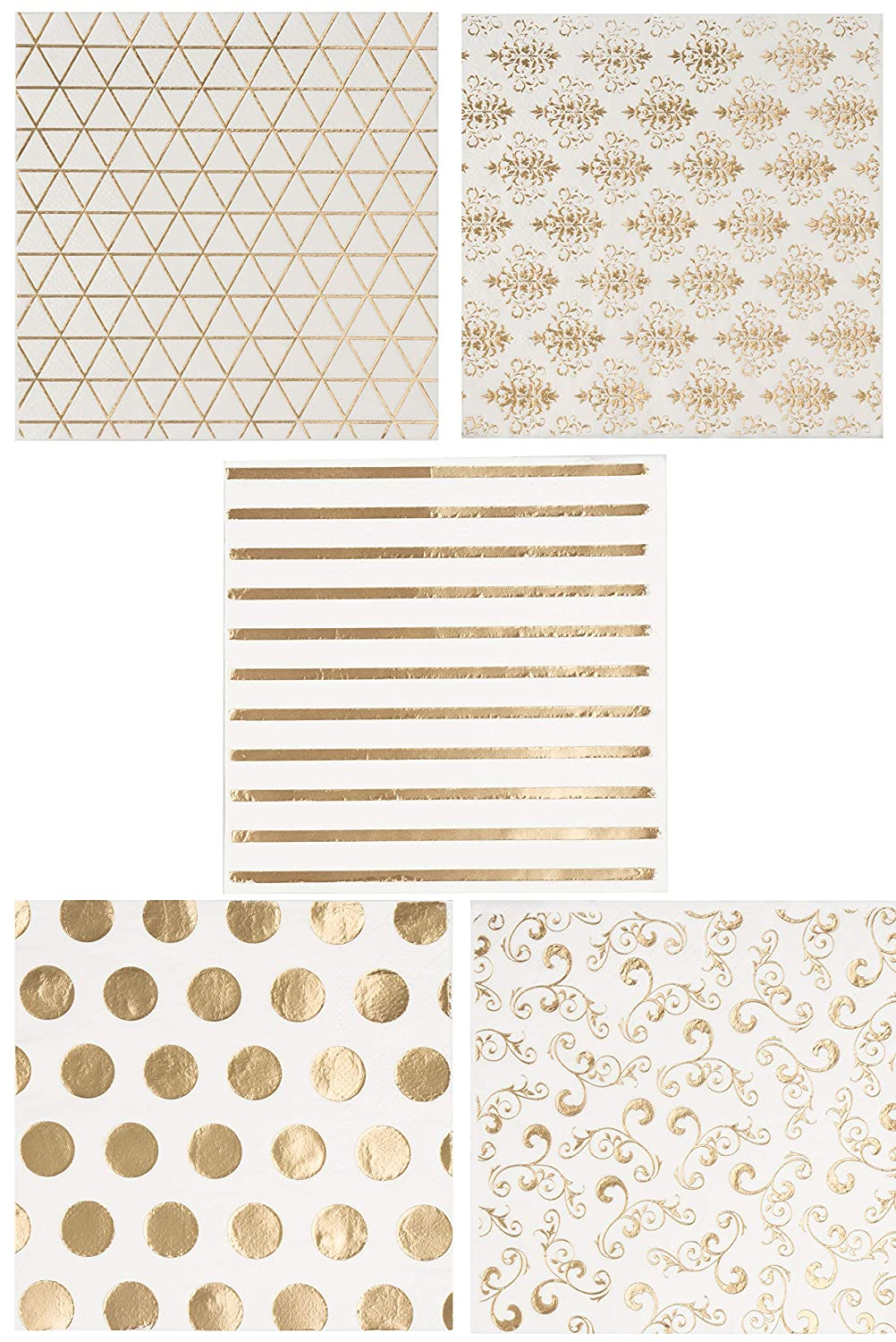 Cocktail Napkins - 100-Pack Luncheon Napkins, Disposable Paper Napkins Party Supplies, 3-Ply, 5 Assorted Gold Foil Print Designs, Unfolded 10 x 10 Inches, Folded 5 x 5 Inches
