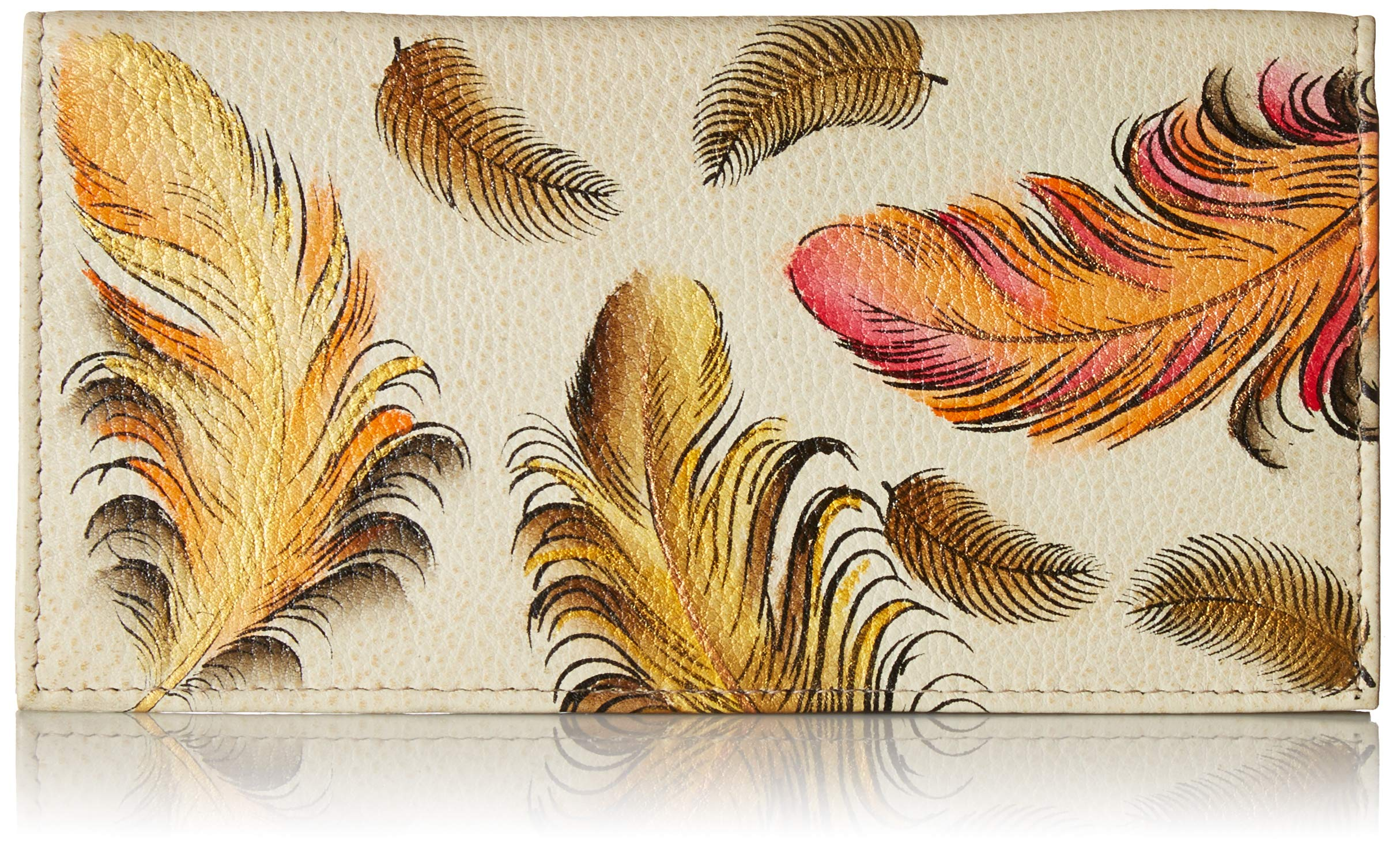 Anuschka Women's Genuine Leather Checkbook Cover | Hand Painted Original Artwork | Floating Feathers Ivory