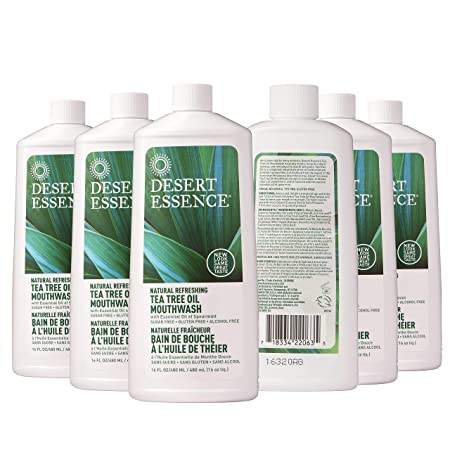 Desert Essence Tea Tree Oil Mouthwash – 16 Fl Ounce – Pack of 6 – Natural Refreshing – Spearmint Flavor – Helps Reduce Plaque Buildup – Refreshes Mouth Gums – Vitamin C – Oral Care – No Parabens