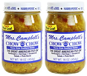 Mrs. Campbell's All Natural Sweet Southern Chow Chow Relish, 16 Oz Glass Jar (Pack of 2)