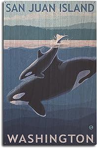 Lantern Press San Juan Island, Washington - Orca and Calf (10x15 Wood Wall Sign, Wall Decor Ready to Hang)