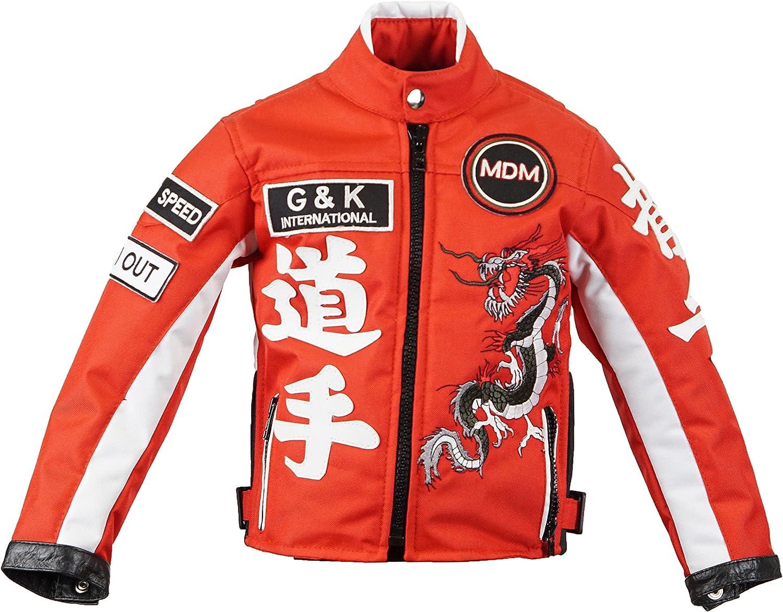Bikerjacke Drachen Jacke, MDM Motorradjacke f/ür Kinder in Rot