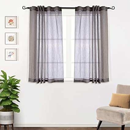 Office curtains Sliding Amazoncom Mysky Home Back Tab And Rod Pocket Window Crushed Voile Sheer Curtains For Office Room Grey 51 63 Inch Set Of Crinkle Sheer Curtain Amazoncom Amazoncom Mysky Home Back Tab And Rod Pocket Window Crushed Voile
