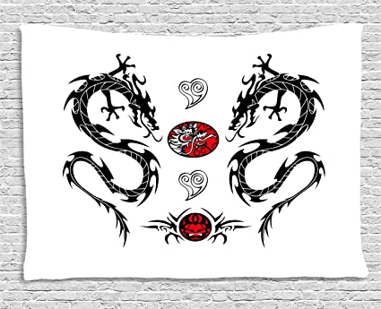 783ca1fae Ambesonne Japanese Dragon Tapestry, Tribal Tattoo Style Asian Indigenous  Creatures with Artistic Details, Wall