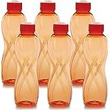 Cello Twisty PET Bottle Set, 1000 ml, Set of 6, Orange