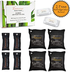 Tennessee Home Goods - Bamboo Charcoal Air Purifying Bags - Premium 10-Pack (4 x 500g, 4 x 75g) Odor Eliminator - Natural Organic Environmentally Safe for Smelly Closet/Dorm/pet/car/RV/Shoes and More