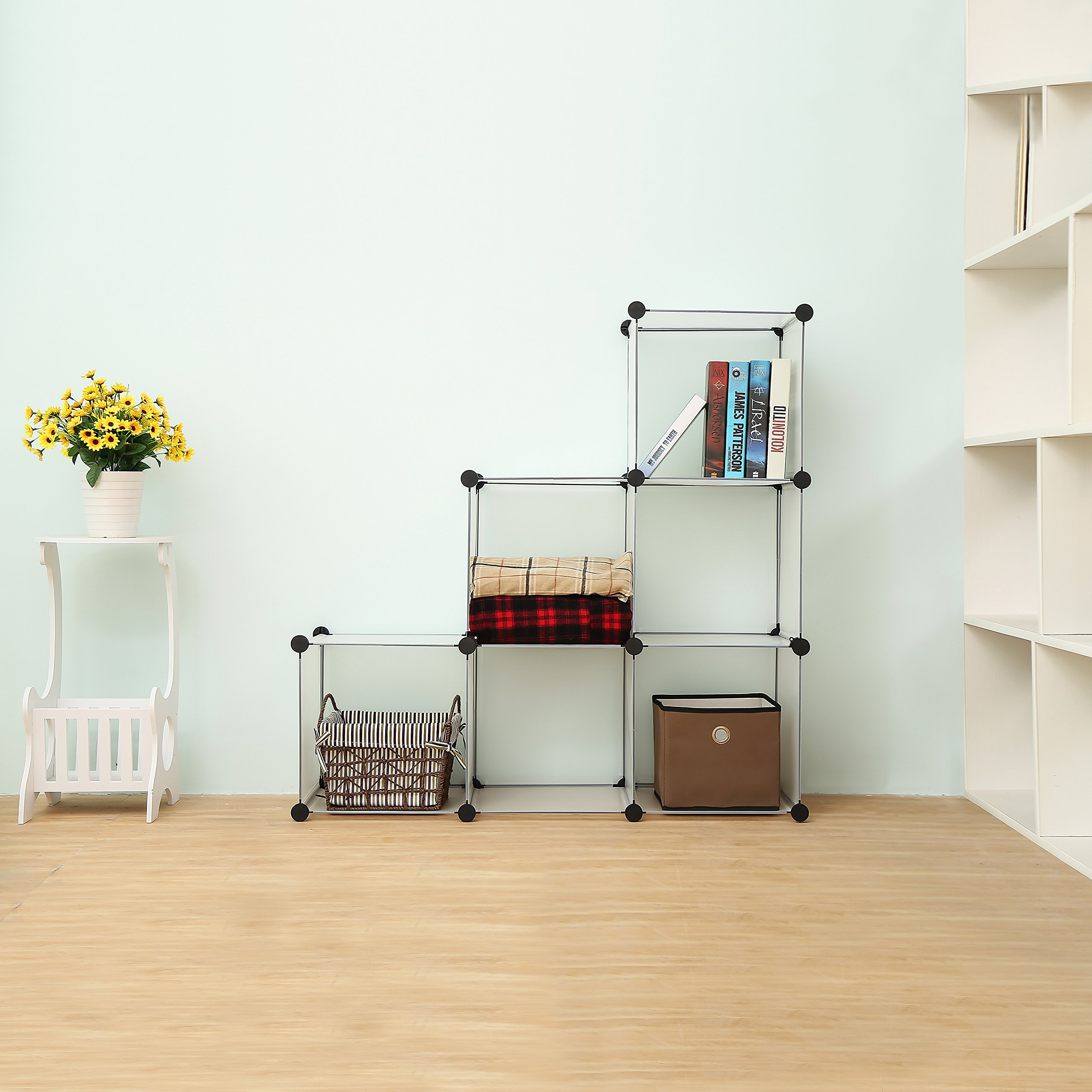 C&AHOME - DIY Bookcase Media Storage Standing Shelf Storage Cabinet Cube of 6, Semitransparent by C&AHOME (Image #3)