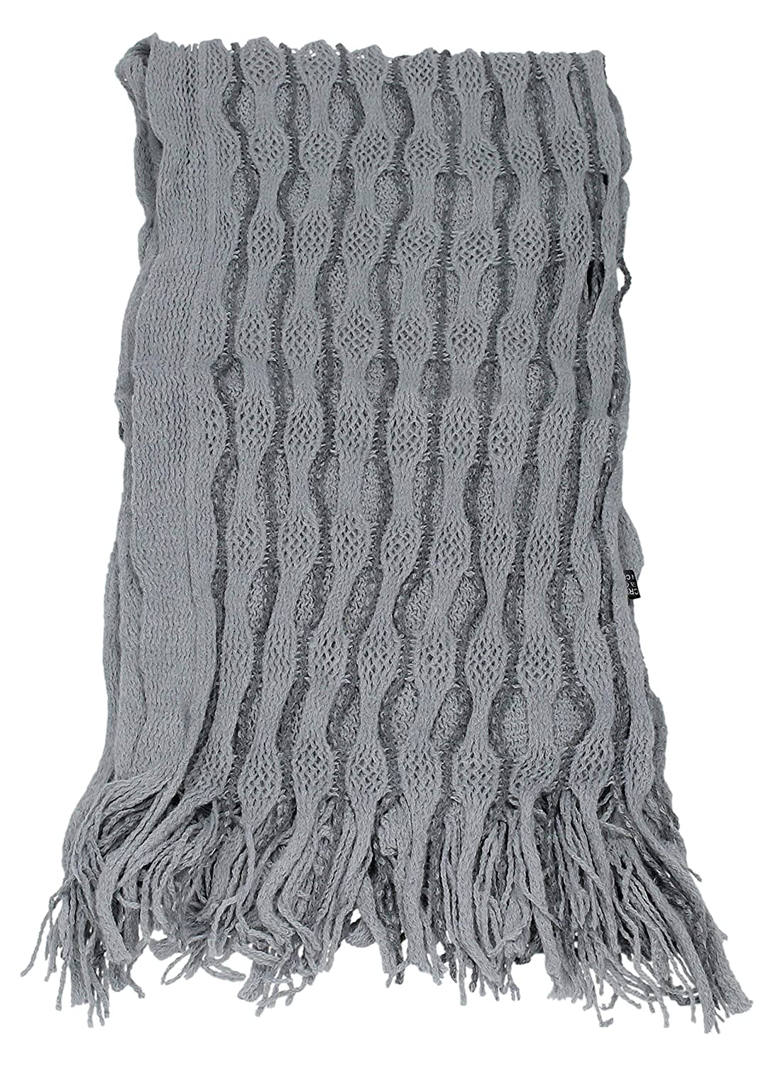 Brooklyn Tassel Detail Two Tone Long Warm Scarf in Grey MIC (Made in China)