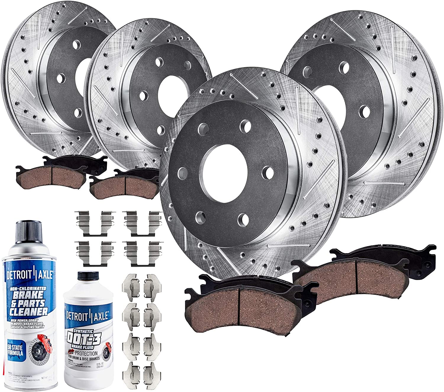 Detroit Axle - Front and Rear Drilled and Slotted Disc Brake Kit Rotors