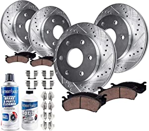 Detroit Axle 10PR1800007 Front & Rear Drilled Slotted Brake Rotors, Ceramic Brakes Pads (10pc Set), Dual Piston Rear Caliper Models Only