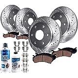 Detroit Axle - Brakes Kit Replacement for Chevy Trailblazer GMC Envoy, Isuzu Ascender - Front Rear Disc Rotors, Ceramic…
