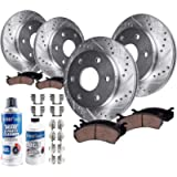 Detroit Axle - Front & 330mm Rear Drilled & Slotted Rotors + Ceramic Pads W/Hardware Replacement for Chevy GMC Silverado…