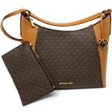 Michael Kors Kimberly Studded Large Shoulder Tote with Pouch Brown PVC
