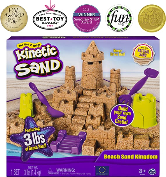 Kinetic Sand Beach Sand Kingdom Playset with 3lbs of Beach Sand