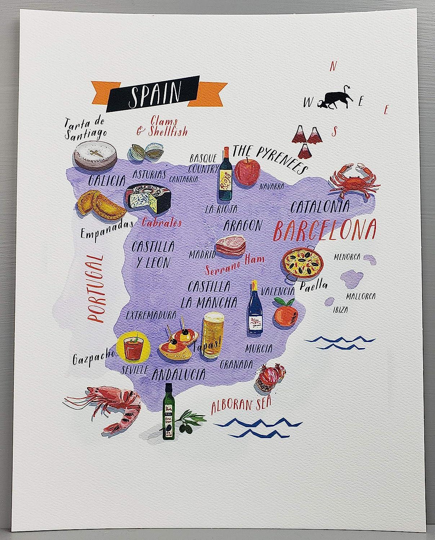 Nancy Nikko Spanish Food Map, Food Regions of Spain, 8 1/2 x 11