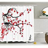 House Decor Shower Curtain by Ambesonne, Sakura Blossom Japanese Cherry Tree Summertime Vintage Cultural Artwork, Polyester Fabric Bathroom Set with Hooks, 69W X 70L Inches Long, Red and Black