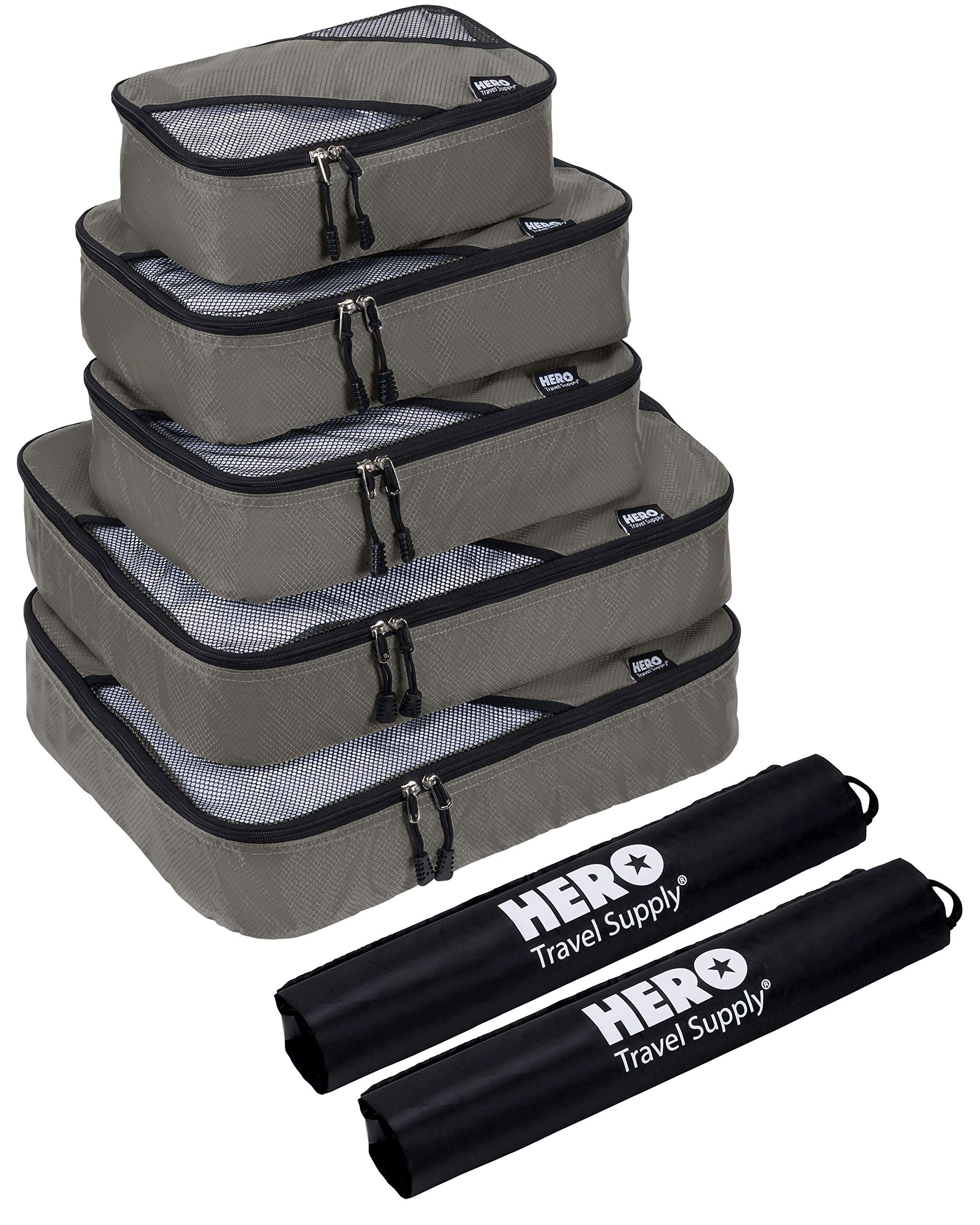 HERO Packing Cubes (5 Set) - Travel Organizers with 2 Bonus Laundry Bags - Includes Ebook on How To Pack A Suitcase by Asher & Lyric by Hero Travel Supply