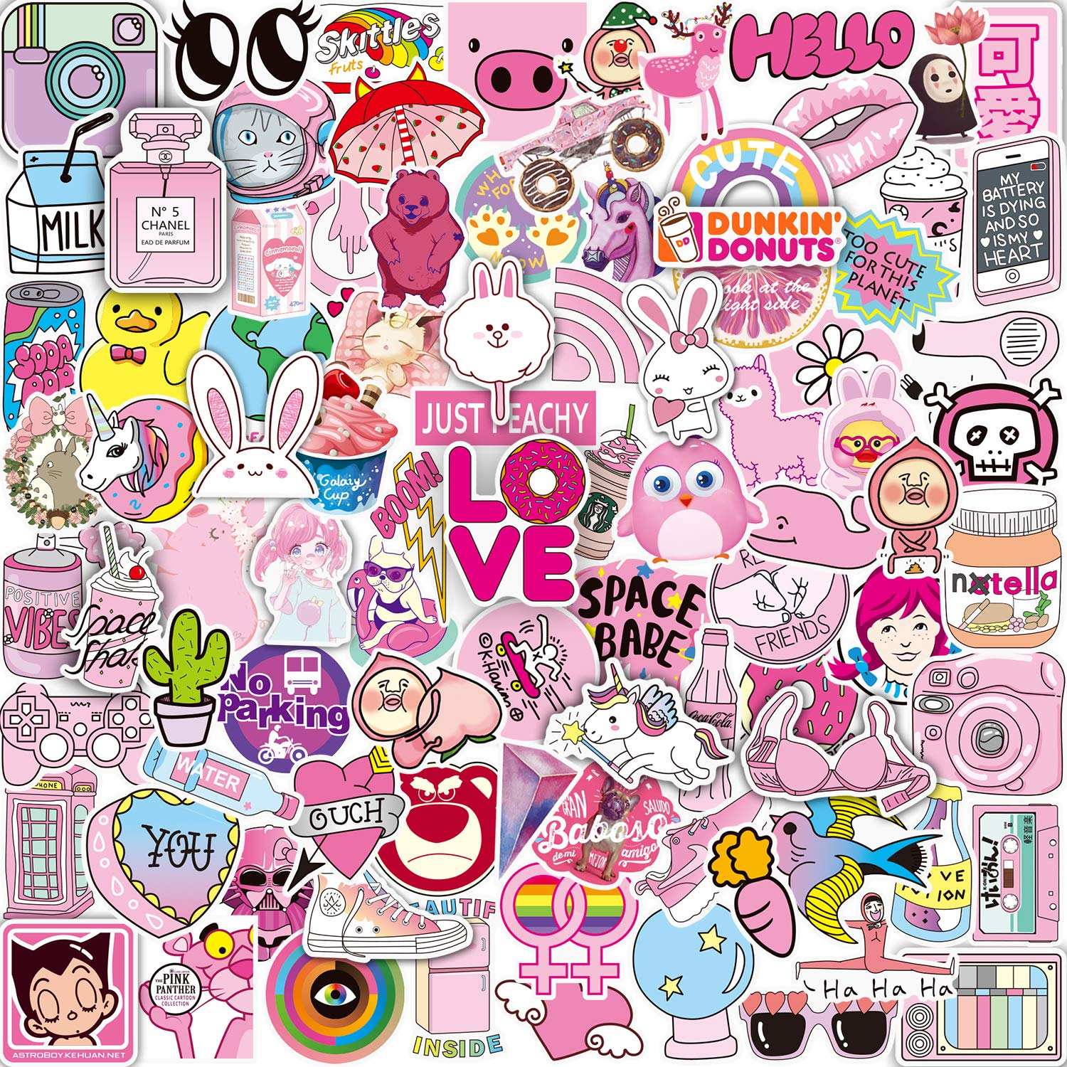 Pink sticker pack 102 pcs vinyl pop cute stickers for laptop skateboardbikeluggageps4xbos oneiphone party favors for teenage girls woman graffiti