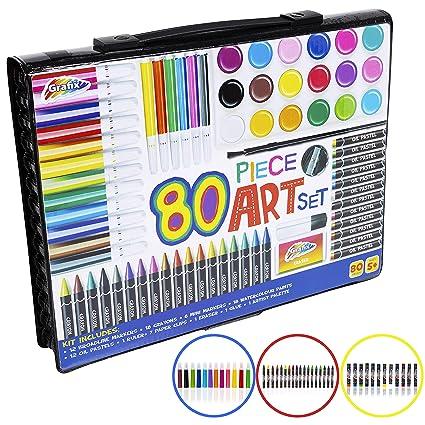 Mega Art Set 250 pc Childrens Drawing Painting Pack Pencil Pastel Large Wallet