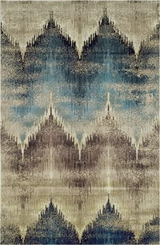 Superior Cadwell Collection Area Rug, 10mm Pile Height with Jute Backing, Fashionable and Affordable Rugs, Designer Inspired Ikat Chevron Pattern – 8 x 10 Rug, Brown, Beige, and Blue