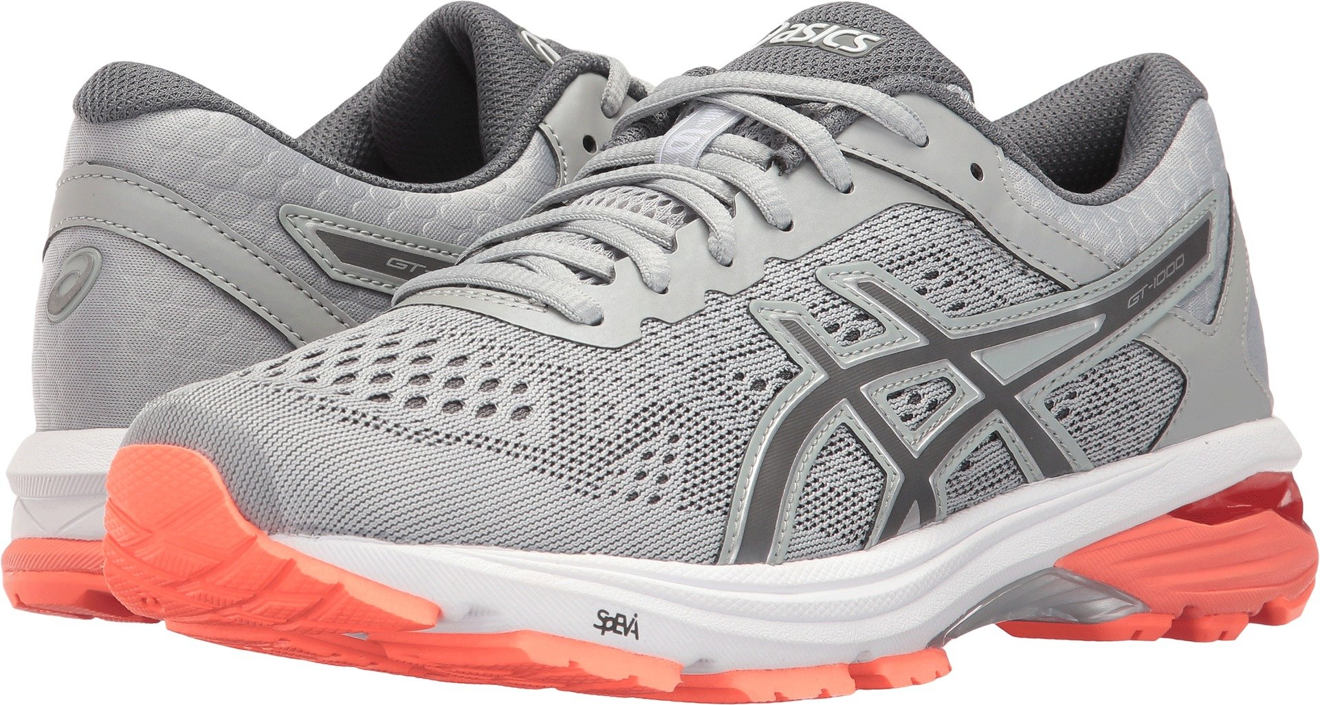 ASICS Womens GT-1000 6 Running Shoe, Mid Grey/Carbon/Flash Coral, 9 Medium US