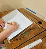 Andvari Clear Acrylic Writing Slope 20 Degree Angle for Perfect Posture, Wearable Ruler-Slap Bracelet Included, Homework or Classroom Aid - Child or Adult use, Strong - Easy Stack and Store.