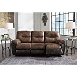 """Ashley Follett 6520288 87"""" Reclining Sofa with Split Back Cushion Jumbo Stitching Pillow Top Arms and Fabric Upholstery in Chocolate"""