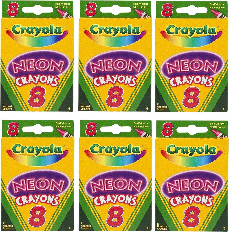 Crayola Neon Crayons 6 PACK 8 Count