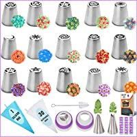 RFAQK - 50 Pcs Russian Piping Tips Set- 15 Numbered, Easy to Use Icing Nozzles - 2 Leaf Tips - 2 Couplers -30 Icing Bags…