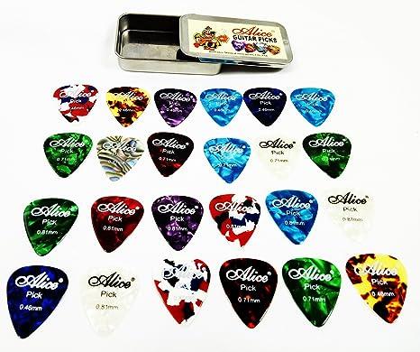 24 púas de celuloide para guitarra con caja de metal, grosor de ...