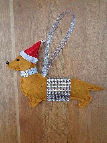Handmade Ginger Tan Felt Christmas Dachshund Sausage Dog Hanging