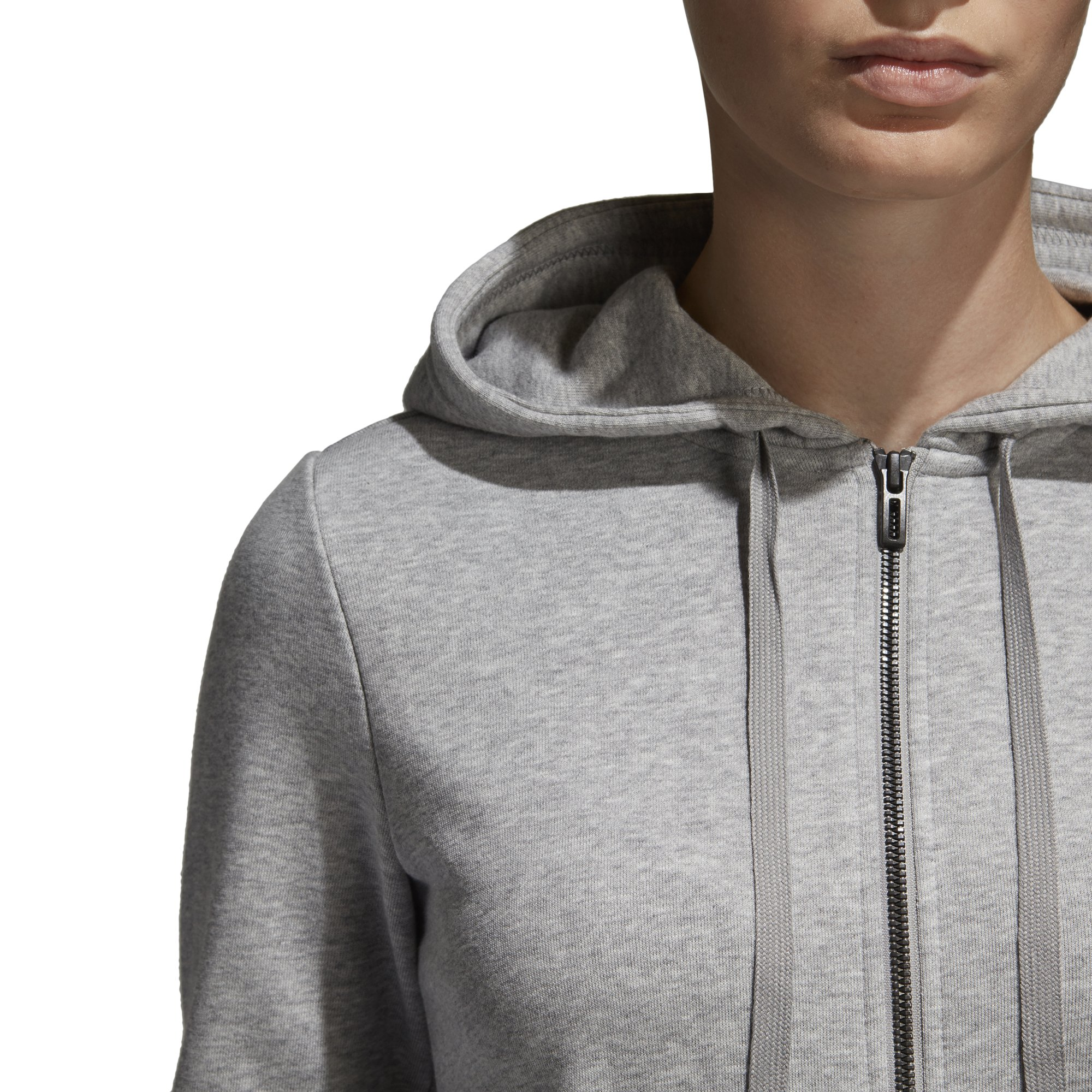 adidas Women's Essentials Linear Full Zip Fleece Hoodie, Medium Grey Heather/Real Pink, X-Small by adidas (Image #6)