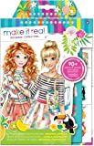 Make It Real – Fashion Design Sketchbook: Graphic Jungle. Inspirational Fashion Design Coloring Book for Girls. Includes Sketchbook, Stencils, Puffy Stickers, Foil Stickers, and Fashion Design Guide