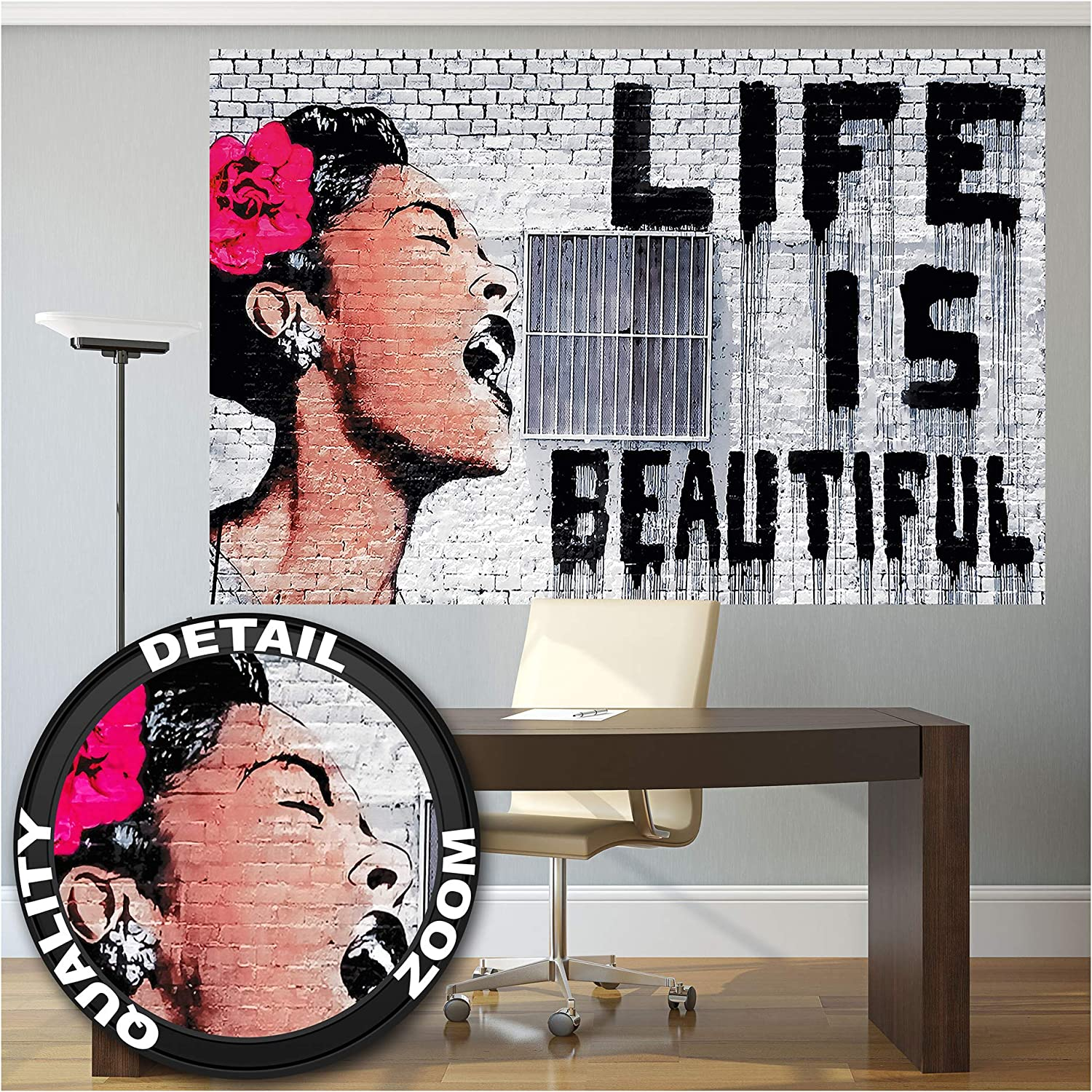 Poster – Banksy Life is Beautiful – Picture Decoration Graffiti Pop Art Urban Street Style Billie Holiday Artwork Stencil Image Photo Decor Wall Mural (55x39.4in - 140x100cm)