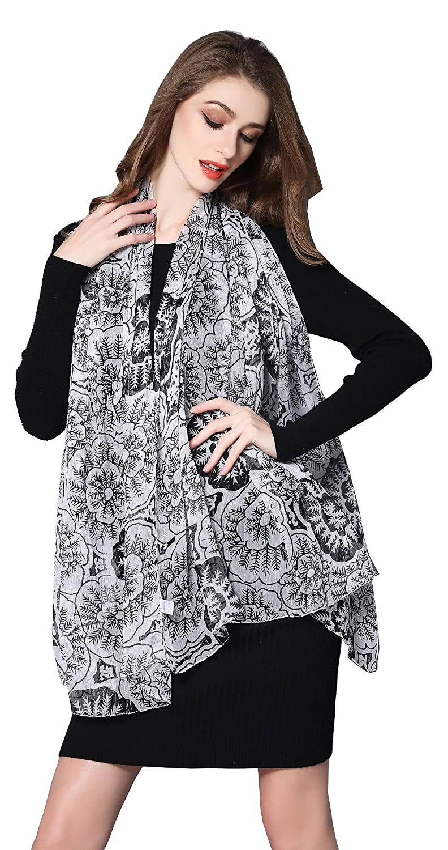 "Spring Air Women 100% Silk Crinkle Georgette Long Scarf with Lurex 71 "" X43.3 """