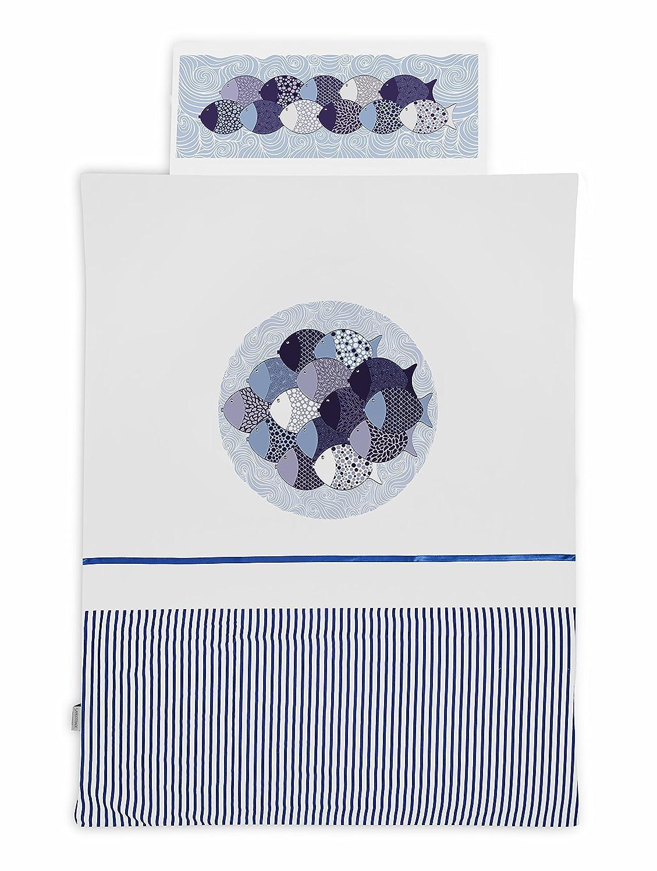 Sango Trade BETTW/ÄSCHE 2 Tlg Fische  Bettw/äsche Set  Baumwolle handgearbeitete f/ür Kinderwiege Bettdecke und Kissenbezug Set Gr/ö/ße 90 x 120 cm Baby Bettw/äsche