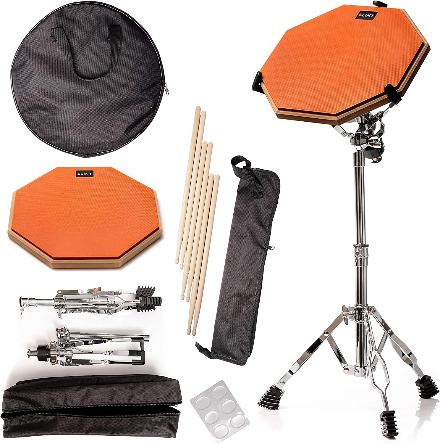 Practice Pad & Snare Stand Bundle - Drum Pad Double Sided with Drumsticks and Drum Stand for Four Inch Snare Drum