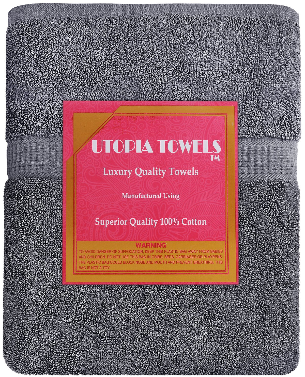 Utopia Towels Soft Cotton Machine Washable Extra Large Bath Towel (35-Inch-by-70-Inch) Luxury Bath Sheet, Gray