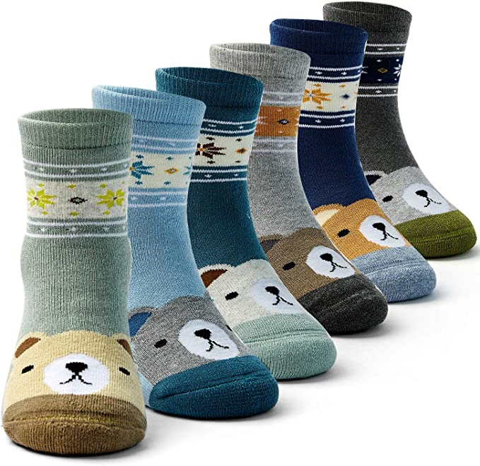 Boys Winter Warm Socks Kids Cotton Crew Socks Cartoon Bear Socks For Boys