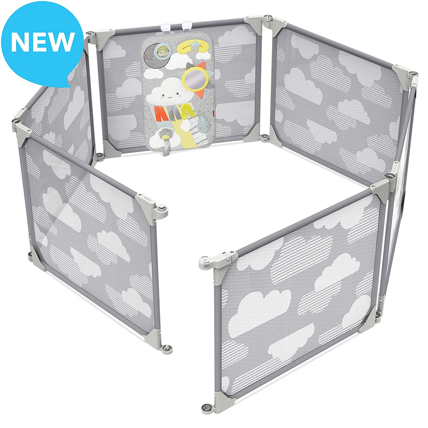 Skip Hop Baby Playpen Expandable or Wall Mounted Play Yard with Clip-On Play Surface, Silver Lining Cloud
