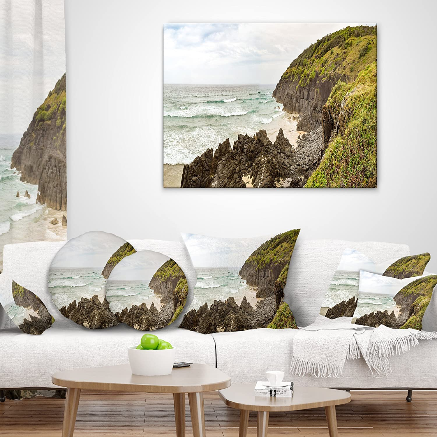 Designart CU11740-16-16 Crescent Head Coastline in Australia Landscape Printed Cushion Cover for Living Room Sofa Throw Pillow x 16 in,