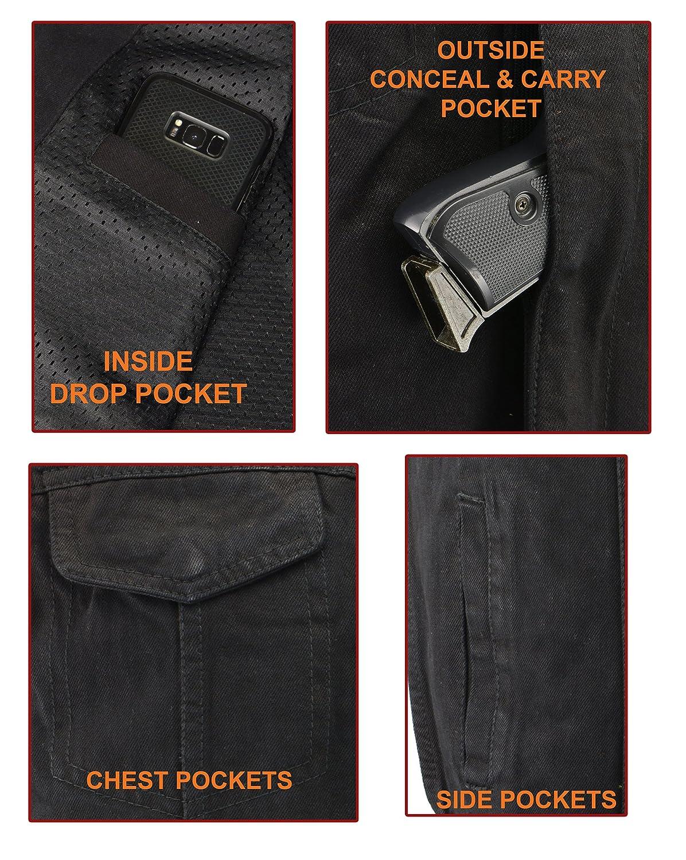 M-Boss Motorcycle Apparel-BOS13002-BLACK-Mens Denim Club Style Side Lace Vest w//Hidden Zipper-BLACK-SM
