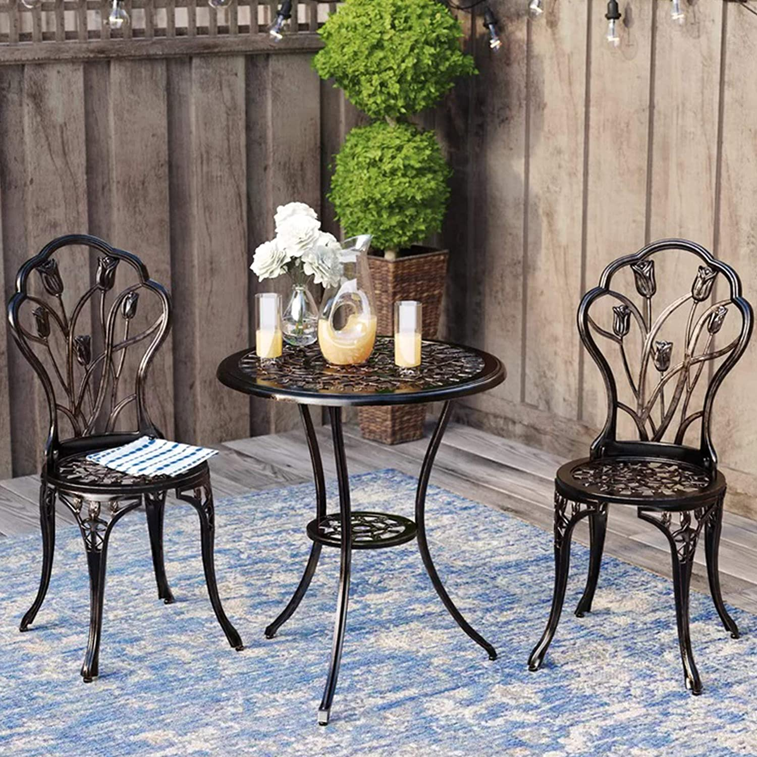 Kinger Home 3 Piece Patio Bistro Table Set Outdoor Furniture Cast Aluminum Antique Copper Bronze Finish Tulip Design, Rust Resistant