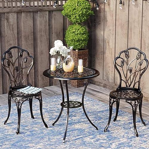 Kinger Home 3 Piece Patio Bistro Table Set Outdoor Furniture Cast Aluminum Antique Copper Bronze Finish Tulip Design, Rust Resistant