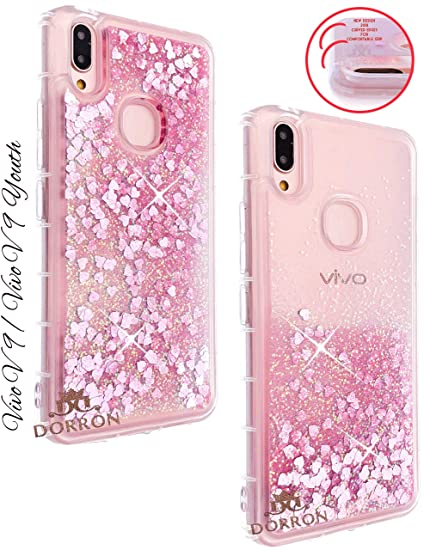 big sale d4a30 e5764 DORRON Glitter Bling Liquid Waterfall Love HeartsFancy Back Case Cover for  Vivo V9 Pro, Vivo V9 Youth (Pink_Floating Love Hearts)