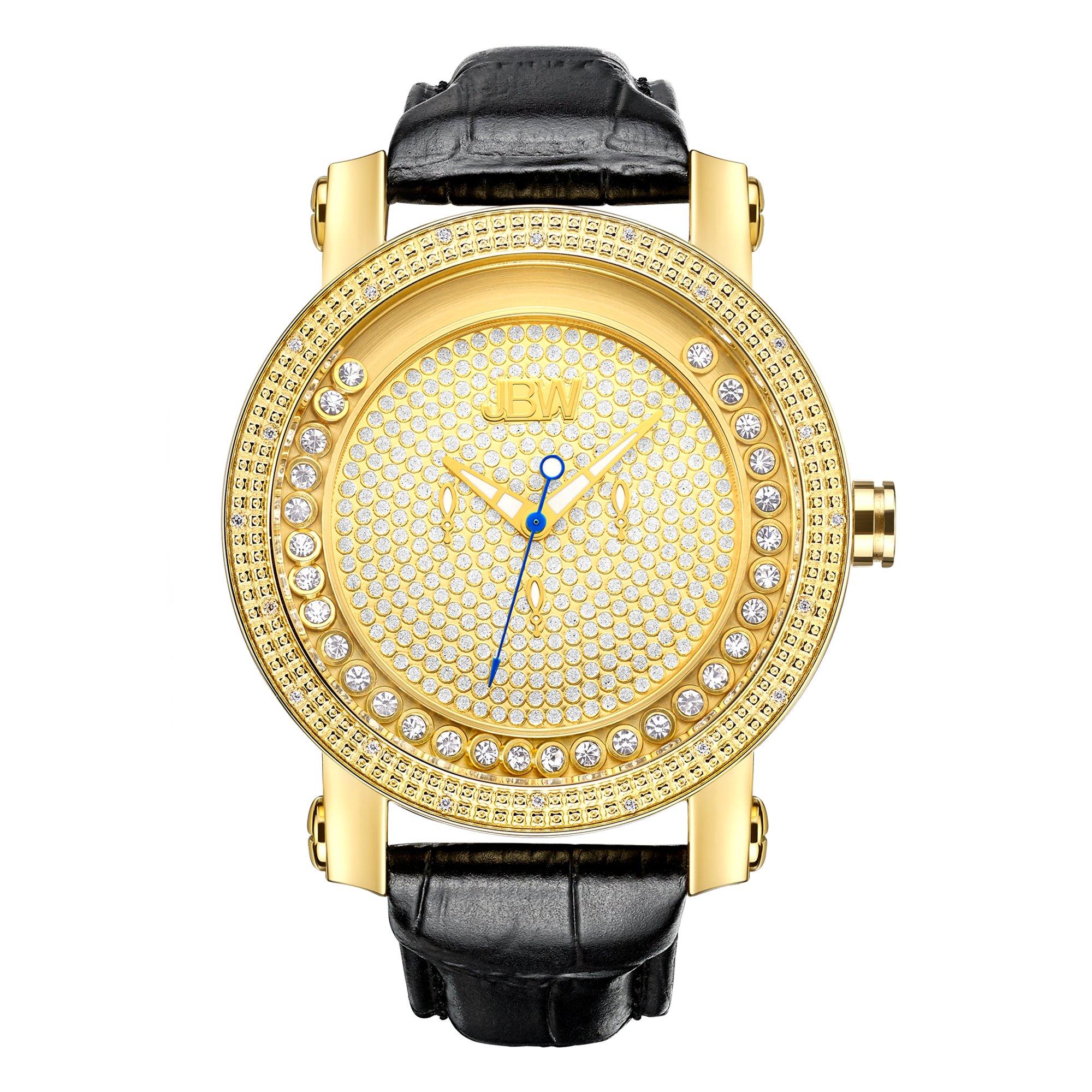 "Jbw Men's Jb-6211L-A ""Hendrix"" Gold-Tone Multi-Function Leather Diamond Watch 8"