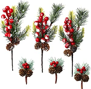 FEBSNOW Red Berry Stems, Christmas Picks for Wreaths, Red Berry Décor Evergreen, Pinecone Picks for Christmas DIY Crafts Decoration