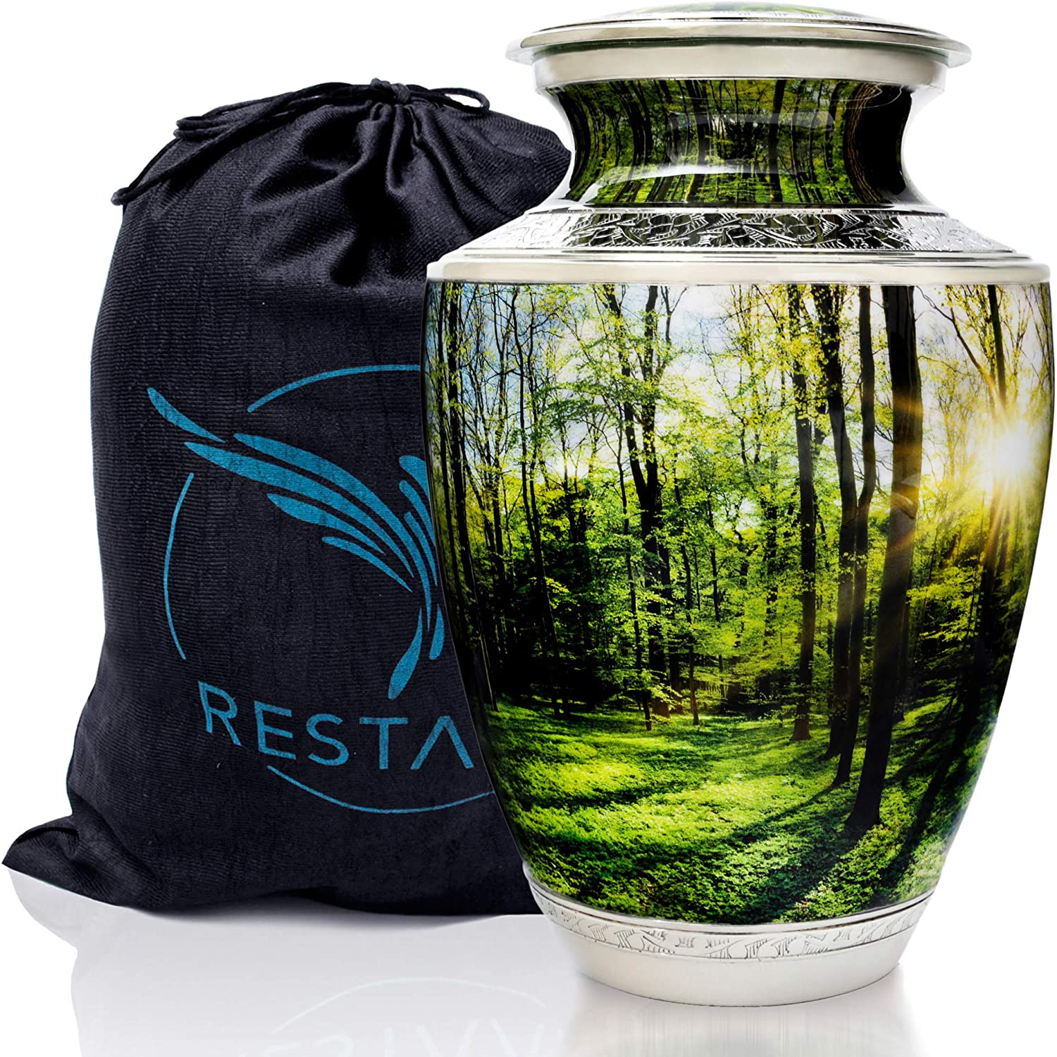 Cremation Urns for Human Ashes Adult Large. Peaceful Forest Urn for Memorial, Funeral or Burial. Restaall for Peace of Mind