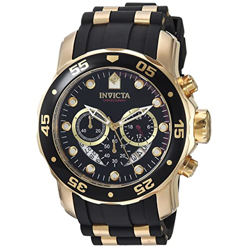 Invicta Mens 6981 Pro Diver Analog Swiss Chronograph Black Polyurethane Watch